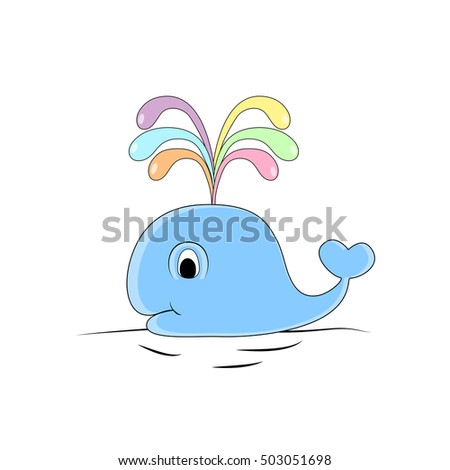 Colorful funny whale hand drawn doodle cartoon, vector illustration, isolated on white background.