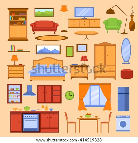 Colorful Furniture Items Set. Furniture Collection in Color. Kitchen, Living room, Bedroom Furniture. Flat Style Furniture Set. - stock vector