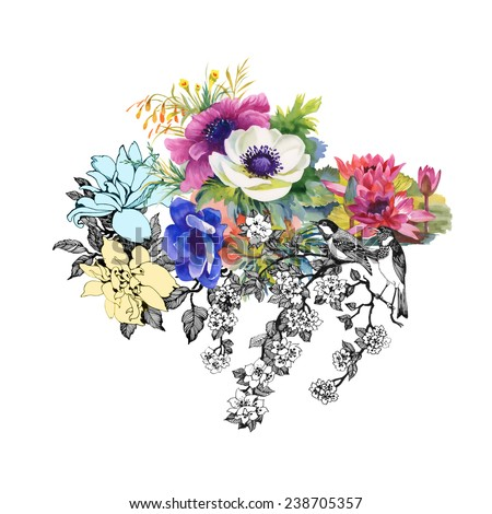 Colorful garden flowers on white background vector illustration