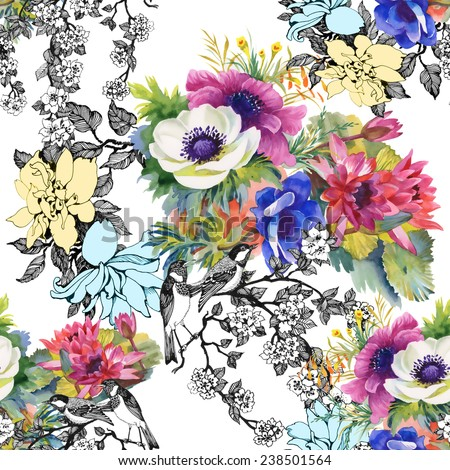 Colorful garden flowers Seamless pattern on white background vector illustration - stock vector