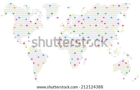 Colorful gay and lesbian couples spread among heterosexual couples all over planet earth. Isolated vector illustration on white background. - stock vector