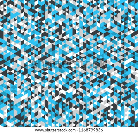 Colorful geometric background. Vector seamless pattern with blue, cyan, and grey triangles.