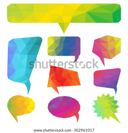 Colorful geometric bubbles for speech. Vector illustration.