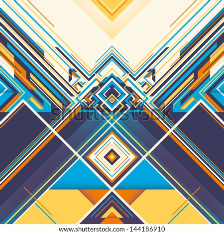 Colorful geometric graphic with abstract composition. Vector illustration. - stock vector