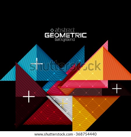 Colorful geometric shapes with texture on black. Modern futuristic abstract design template - stock vector