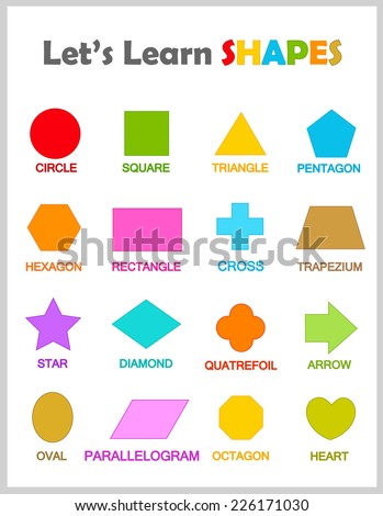 Colorful geometric shapes their name clip stock vector 226171030 colorful geometric shapes with their name clip art collection isolated on white background for preschool kids ccuart