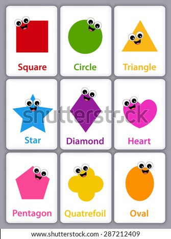 Colorful geometric shapes with their name flash card collection isolated on white background for preschool kids