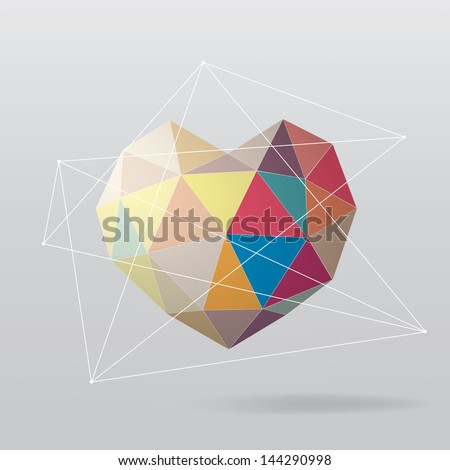 Colorful geometrical heart. Abstract background - stock vector