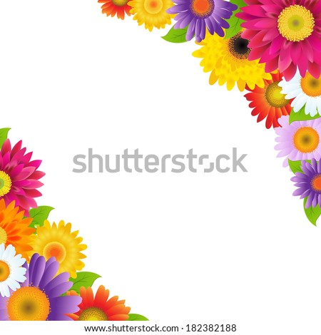 Colorful Gerbers Flowers Border, With Gradient Mesh, Vector Illustration - stock vector