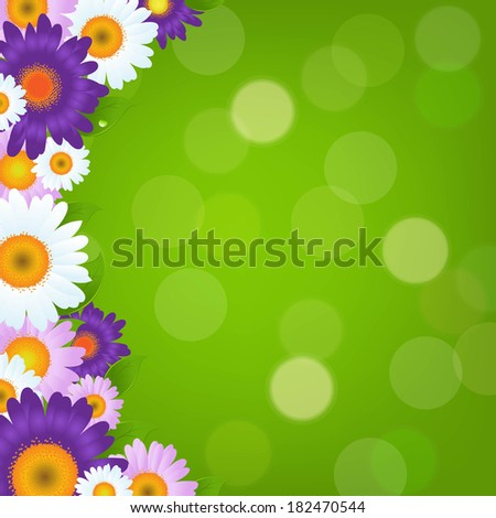 Colorful Gerbers Flowers Frame With Green Bokeh, With Gradient Mesh, Vector Illustration - stock vector