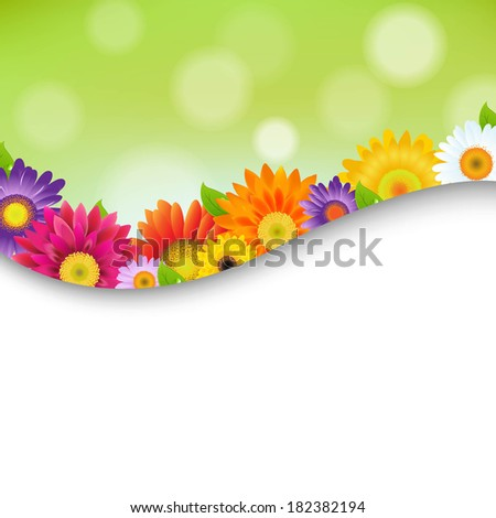 Colorful Gerbers Flowers Poster, With Gradient Mesh, Vector Illustration - stock vector