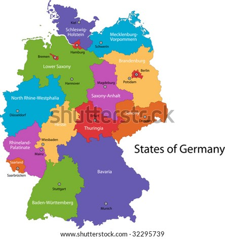 Colorful Germany Map Regions Main Cities Stock Vector - Germany map regions