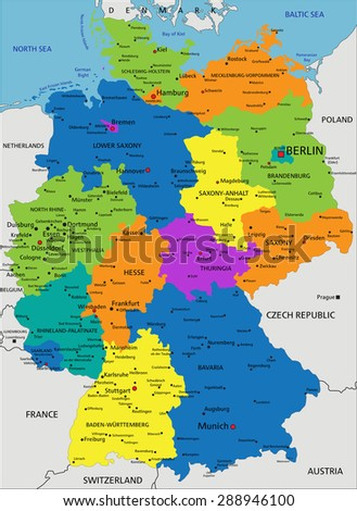Colorful Germany political map with clearly labeled, separated layers. Vector illustration.