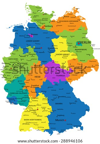 Colorful germany political map clearly labeled stock vector hd colorful germany political map with clearly labeled separated layers vector illustration gumiabroncs Images