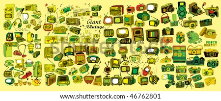 Colorful Giant Vintage Collection (vector) - stock vector