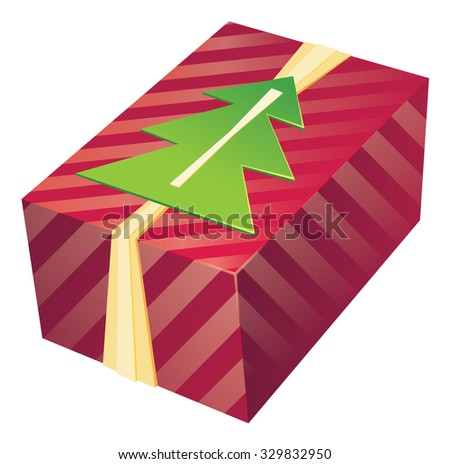 colorful gift box with ribbons and rich design decor - vector illustration - stock vector