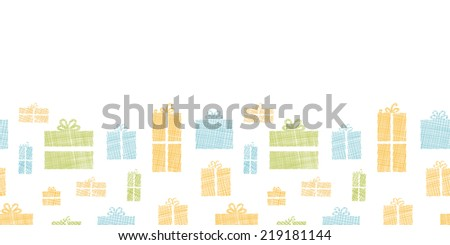Colorful gift boxes textile texture horizontal border seamless pattern background - stock vector