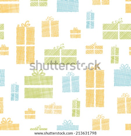 Colorful gift boxes textile texture seamless pattern background - stock vector