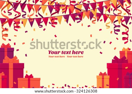 Colorful gift boxes, triangular party flags, confetti and paper streamer horizontal template. Retro vector background. Place for your text. Design for invitation, card, banner, gift certificate  - stock vector