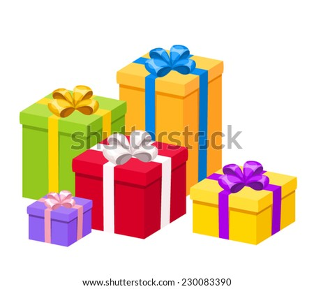 Colorful gift boxes with bows. Vector illustration. - stock vector