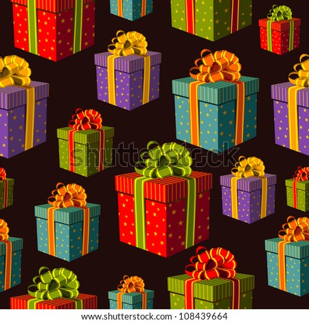 Colorful gift boxes with important ribbons pattern on black background. Vector file layered for easy manipulation and custom coloring. - stock vector