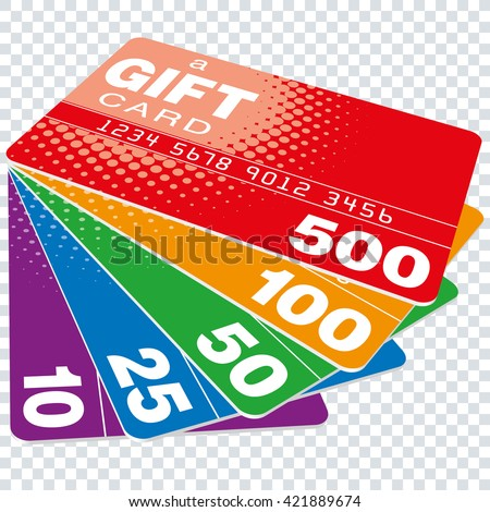 Colorful Gift Cards set on transparent background. Vector EPS10 - stock vector