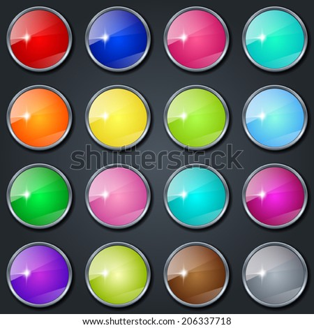 Colorful glass buttons vector collection on gray background