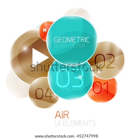 Colorful glass circles composition. Modern futuristic round elements, air abstract geometric template - stock vector