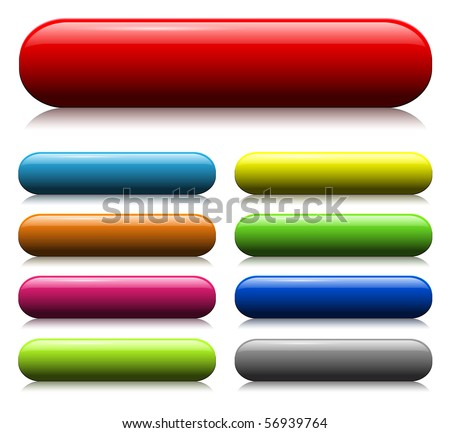 colorful glass web buttons set - stock vector