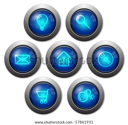 Colorful glassy web buttons with metal borders - stock vector