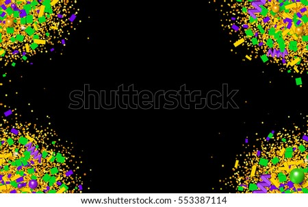 Colorful glitter, confetti and beads explosion in traditional Mardi Gras colors. Bright yellow, green and purple particles on black background. Vector illustration for your graphic design.