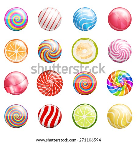 Colorful glossy bright lollipops illustrations. Vector icon set - stock vector