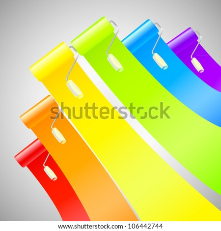 Colorful glossy bright rainbow paint rollers with color strokes eps10 vector background - stock vector