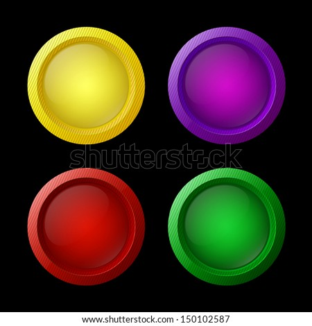 Colorful glossy buttons. Design elements. Vector illustration