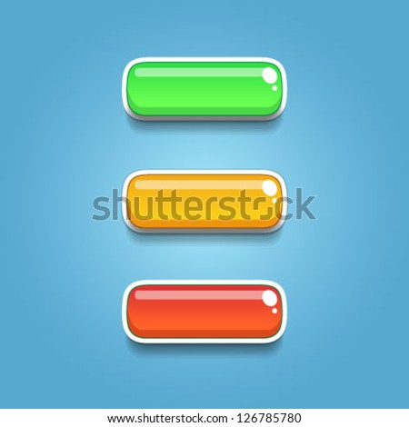 Colorful glossy buttons for game design and interface - stock vector