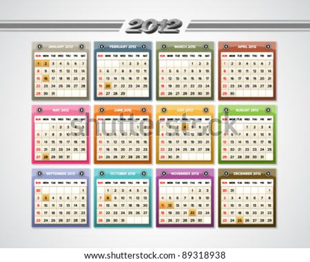 Colorful glossy calendar for 2012 with public holidays indications. - stock vector