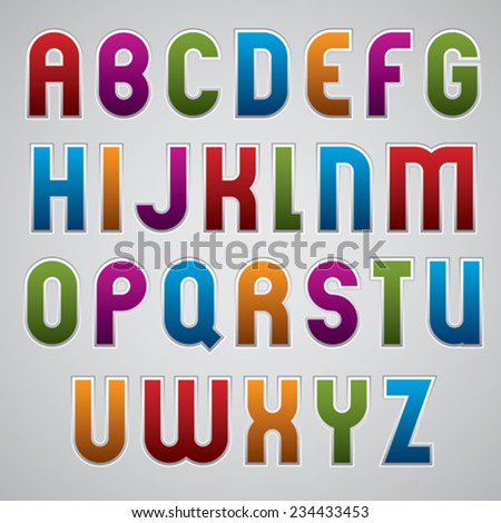 Colorful glossy rounded font, geometric letters with white outline.