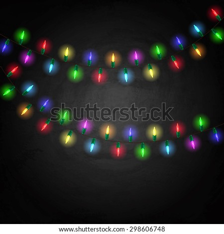 Colorful glowing christmas lights on blackboard background. Vector illustration
