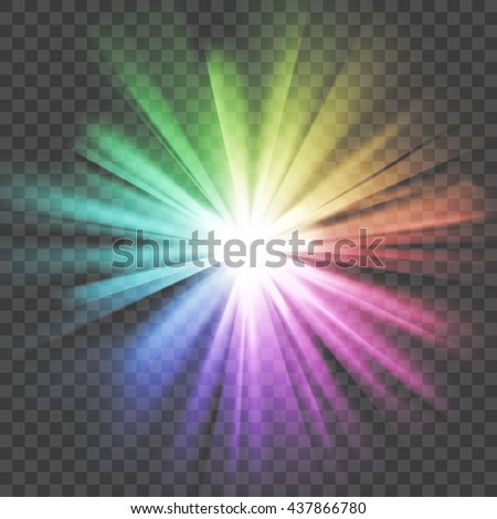 Colorful glowing light. Bright shining star. Bursting explosion. Transparent background. Rays of light. Glaring effect with transparency. Abstract glowing light background. Vector illustration. - stock vector