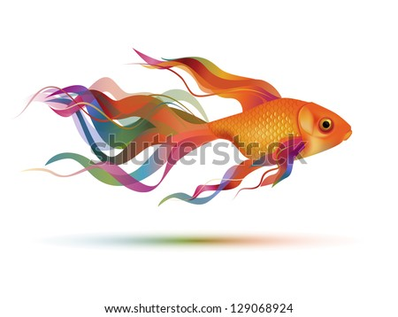 Colorful goldfish, eps10 vector