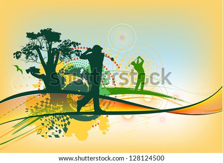 colorful golf background - stock vector