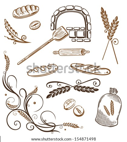 Colorful grain and bakery vector design elements. - stock vector