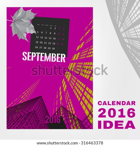 Colorful graphic design of an English Calendar 2016. Week starts from Monday. Vivid architectural digital concept with city life silhouettes. Creative and unique style. Vector editable illustration - stock vector