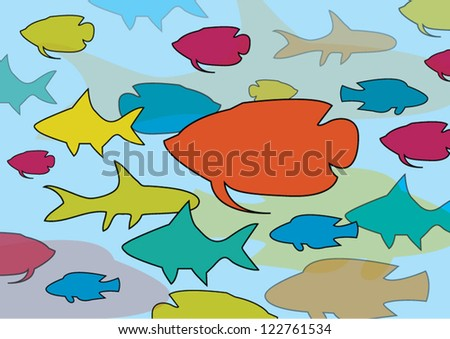 Colorful graphic fishes wallpaper