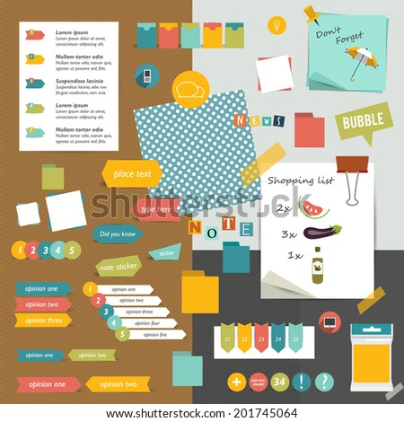 Colorful graphic template. Folder, sticker, data, bubbles set. Vector background.