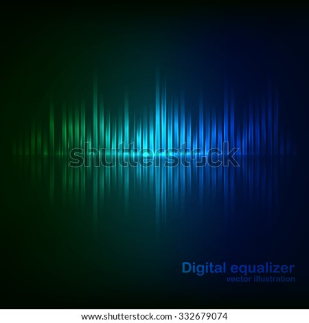 Colorful green-blue digital shining equalizer. Vector illustration. - stock vector