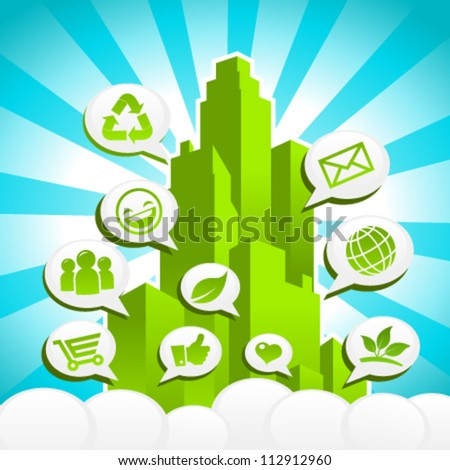 Colorful Green city in vector with Eco and recycling icons in speech bubbles.