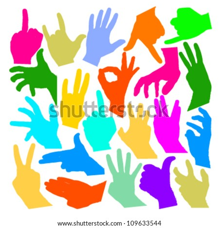 colorful group of hands silhouettes. vector design - stock vector