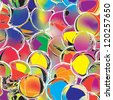 Colorful grunge circle seamless pattern, stained glass - stock photo