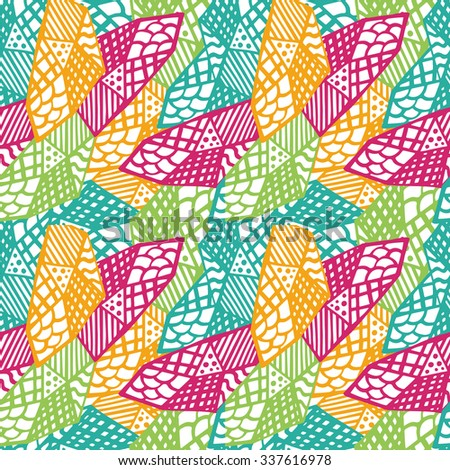 Colorful grunge ethnic background. Seamless vector pattern. Ethnic vector illustration handmade. Tribal motives. Yellow, orange, pink, blue and green colors. Striped pattern. - stock vector
